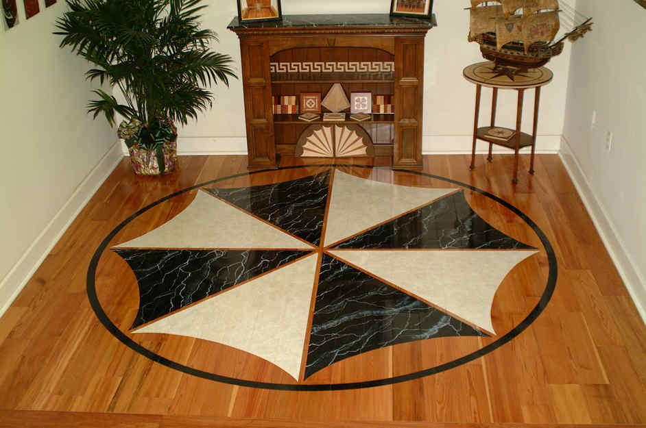 10ft Painted Scollopeddesign Medallion In Marble And Sand Stone